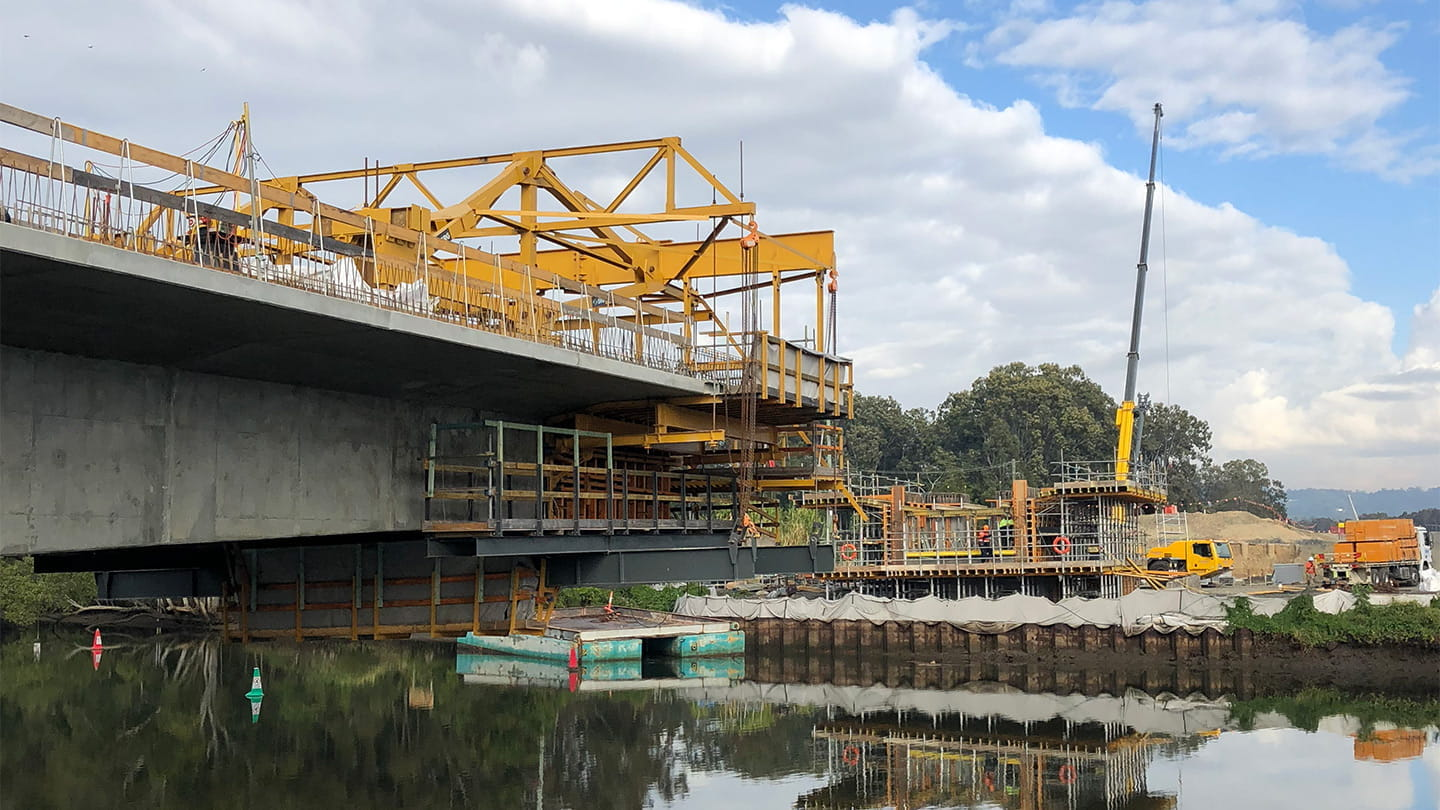 temporary works geotechnial design for the bridge launch at Ballina NSW for W2B project and Georgiou